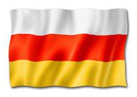 South Ossetia flag isolated on white