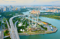 Singapore skyline, Ferries Wheel, aerial