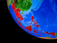 South East Asia on Earth from space