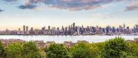 Boulevard east New York city skyline view.