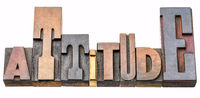 attitude word abstract in wood type