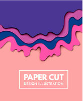 Vector paper cut background. Abstract origami wave design Vector paper cut background. Abstract origami wave design