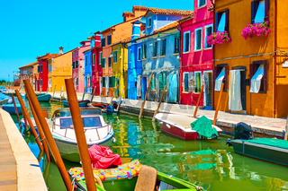 Canal and colorful houses in Burano