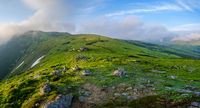 Early morning summer mountain panorama