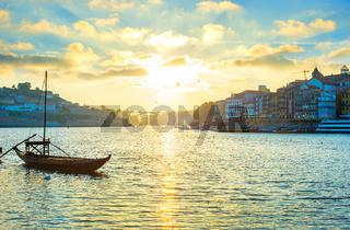 Porto skyline wine boat Portugal