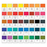 Aquarelle basic palette, Artistic paint set N°40. Main watercolor essential pigment samples with catalogue swatch numbers and names (on English).