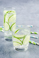 Infused water with cucumber and ice