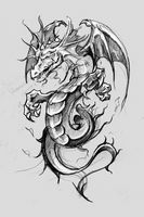 Dragon lizzard, Tattoo sketch, handmade design over vintage paper