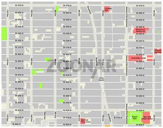 new york city, theater district, midtown manhattan vector map