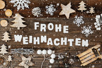 Decoration, Frohe Weihnachten Means Merry Christmas, Tree And Sled, Snowflakes