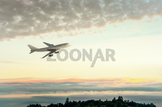 an Airplane and the sunset sky
