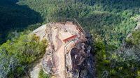 Overhead views to rocky outcrop and lookout Blue Mountains Australia