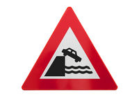 Traffic sign isolated - Car falls of the cliff