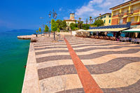 Garda lake turquoise waterfront in town of of Lasize view