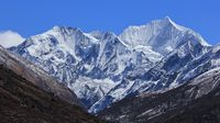 Mount Gangchenpo on a spring day. View from Mundu, Langtang National Park, Nepal.