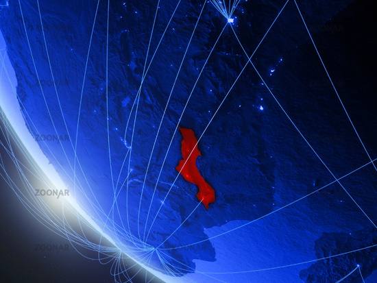 Malawi from space with network