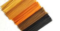 Uncooked multicolored spaghetti