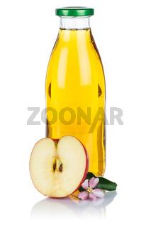 Apfelsaft Apfel Saft in der Flasche frisch Äpfel Fruchtsaft Hochformat freigestellt isoliert