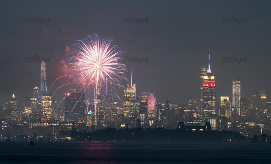 July 4th Celebration 2019 Jersey City and New York Skylines