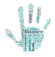 wordcloud finance and business words on hand shape
