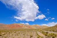 Colorful landscape at the Cuesta De Lipan canyon from Susques to Purmamarca, Jujuy, Argentina