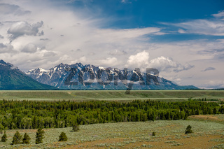 Grand Teton Mountains with low clouds