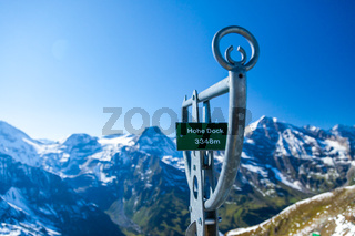 Information sign and views of the Alps along the Grossglockner High Alpine Road in Austria