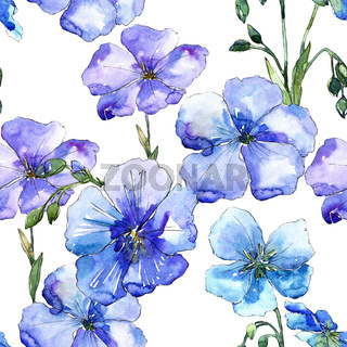 Blue flax flower. Floral botanical flower. Seamless background pattern.