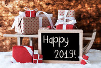 Sleigh With Gifts, Snow, Bokeh, Text Happy 2019