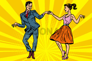 retro dancers couple man and woman
