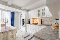 modern white wooden kitchen interior