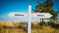 Street Sign to Wellness versus Stress