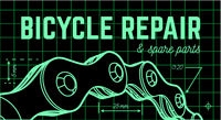 Bicycle repair on blueprint background with bicycle chain. Vector