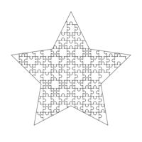 White puzzles pieces arranged in a star shape. Jigsaw Puzzle template ready for print. Cutting guidelines isolated on white
