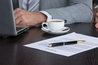 Businessman work with contract document