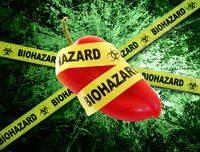 biohazard food with tape on grunge background
