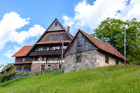 Traditional wood and stone alpine chalet