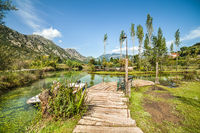 Beautiful park in the small town of Morin in Boka Kotorska Bay. Montenegro