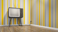 old vintage tube television in seventies style room