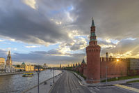 Moscow sunset city skyline at Kremlin Palace Red Square and Moscow River, Moscow, Russia