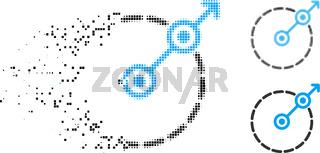 Dispersed Pixelated Halftone Round Area Exit Icon