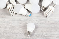 top view of white LED and energy-saving lamps