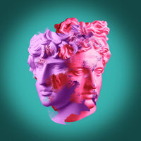 Modern conceptual art poster with ancient statue of bust of Antinous and Apollo. Collage of contemporary art.