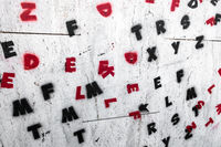 Letters on wall
