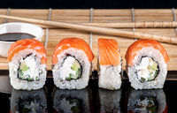 Philadelphia Sushi roll in a row