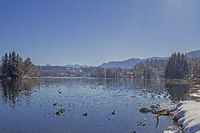 Isarstausee bei Bad Tölz im Winter