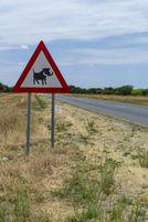 Verkehrsschild mit Warnung vor Warzenschweinen,  Namibia