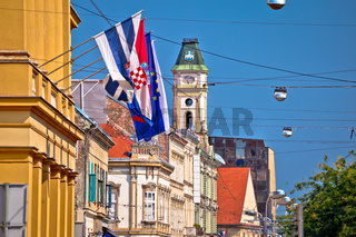 Osijek colorful street and landmarks view