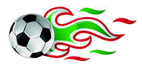 soccer ball on fire with italian and mexican flag