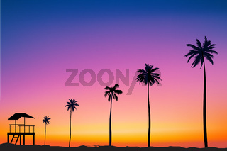 horizontal wide blurred pink background - sunset sea and palm tree